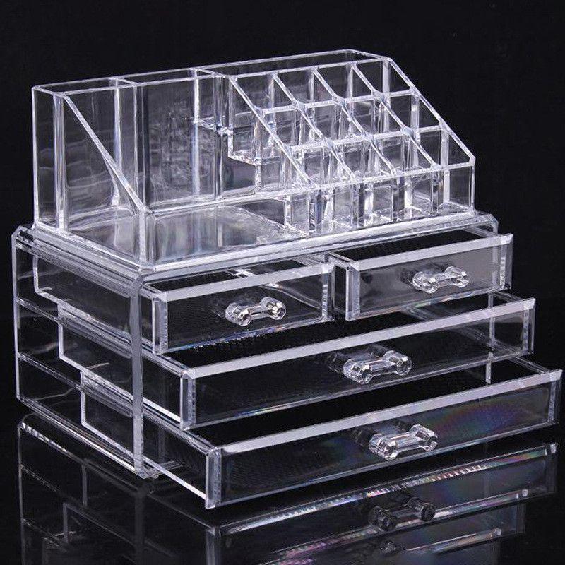 新しいFahison透明化粧箱のアクリル化粧品オーガナイザーデスクトップクリアボックス収納ケース女性のギフトAF1