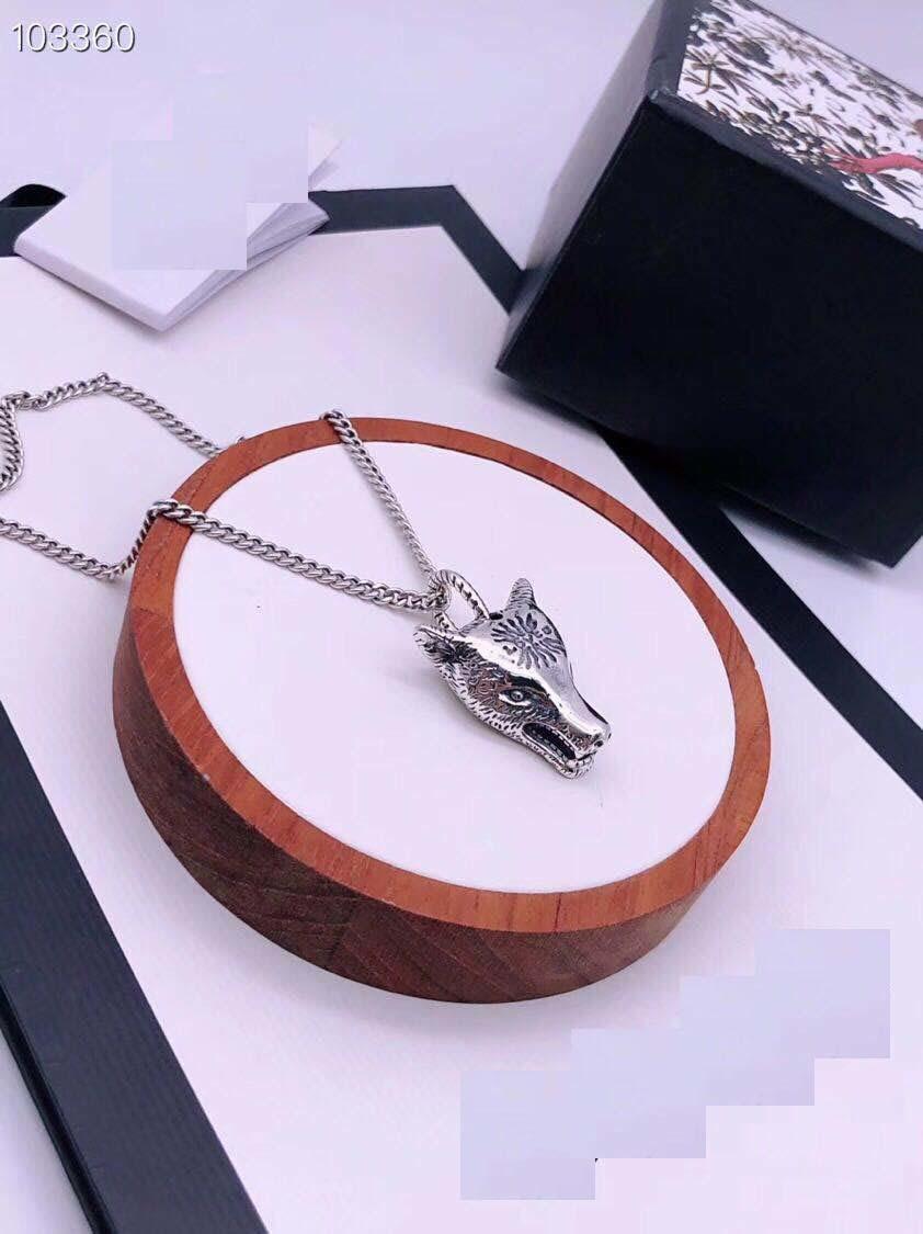 Завод прямых продаж 925 стерлингового серебра голова волка ожерелье летом прохладно матч