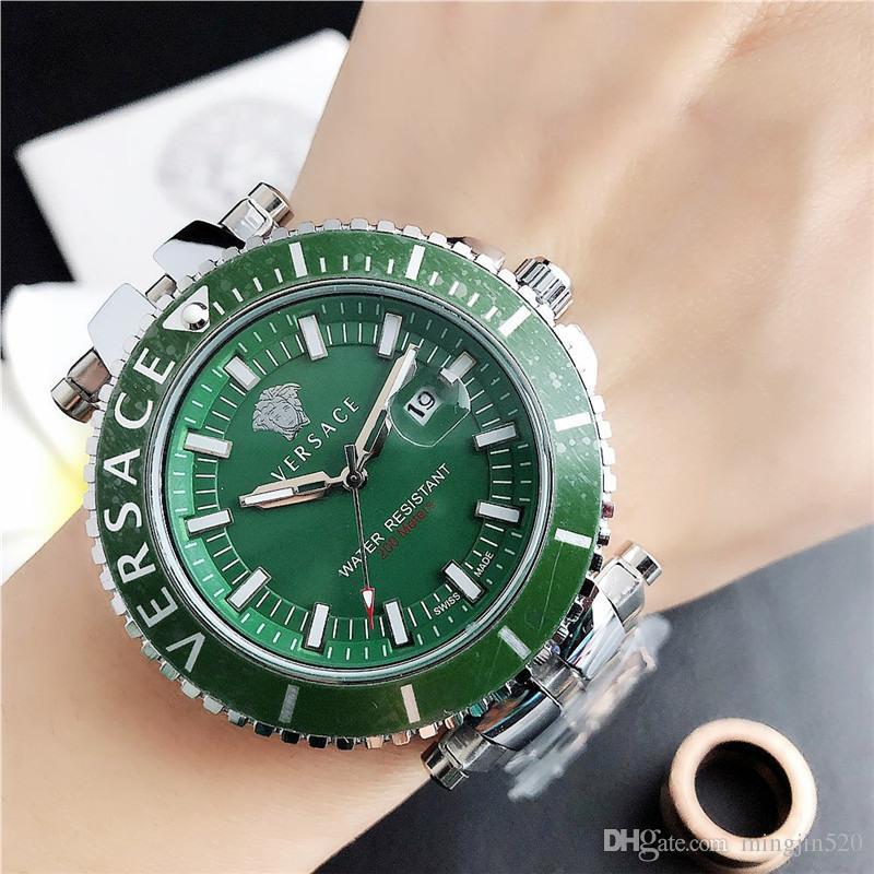 Les nouveaux hommes 45MM Montre bracelet en acier inoxydable hommes de la marque verte de créateurs de montres de luxe de la mode cadeaux horloge homme de Atmos orologio di lusso
