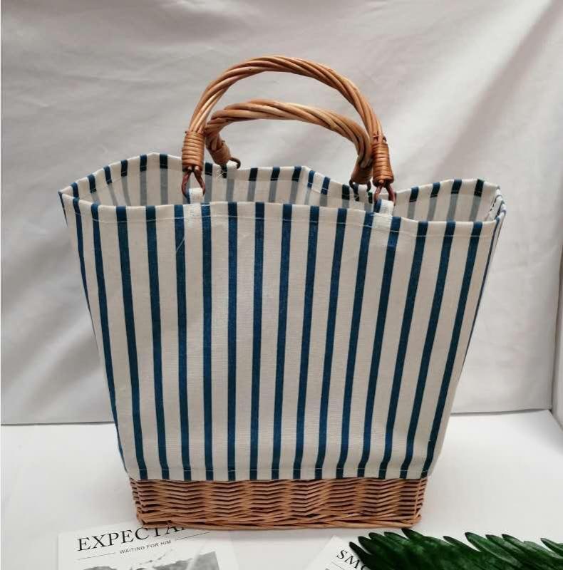 Полосатый холст мешок соломы Крупнотоннажной ротанг мешок портативные тканые сумки Bucket женщина большой покупка Лето Плетеные корзины