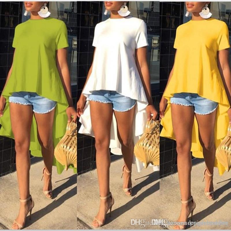 Womens Designer Irregular Tshirts Summer Solid Color Short Sleeve Peplum Casual Crew Neck Tshirt Womens Tops