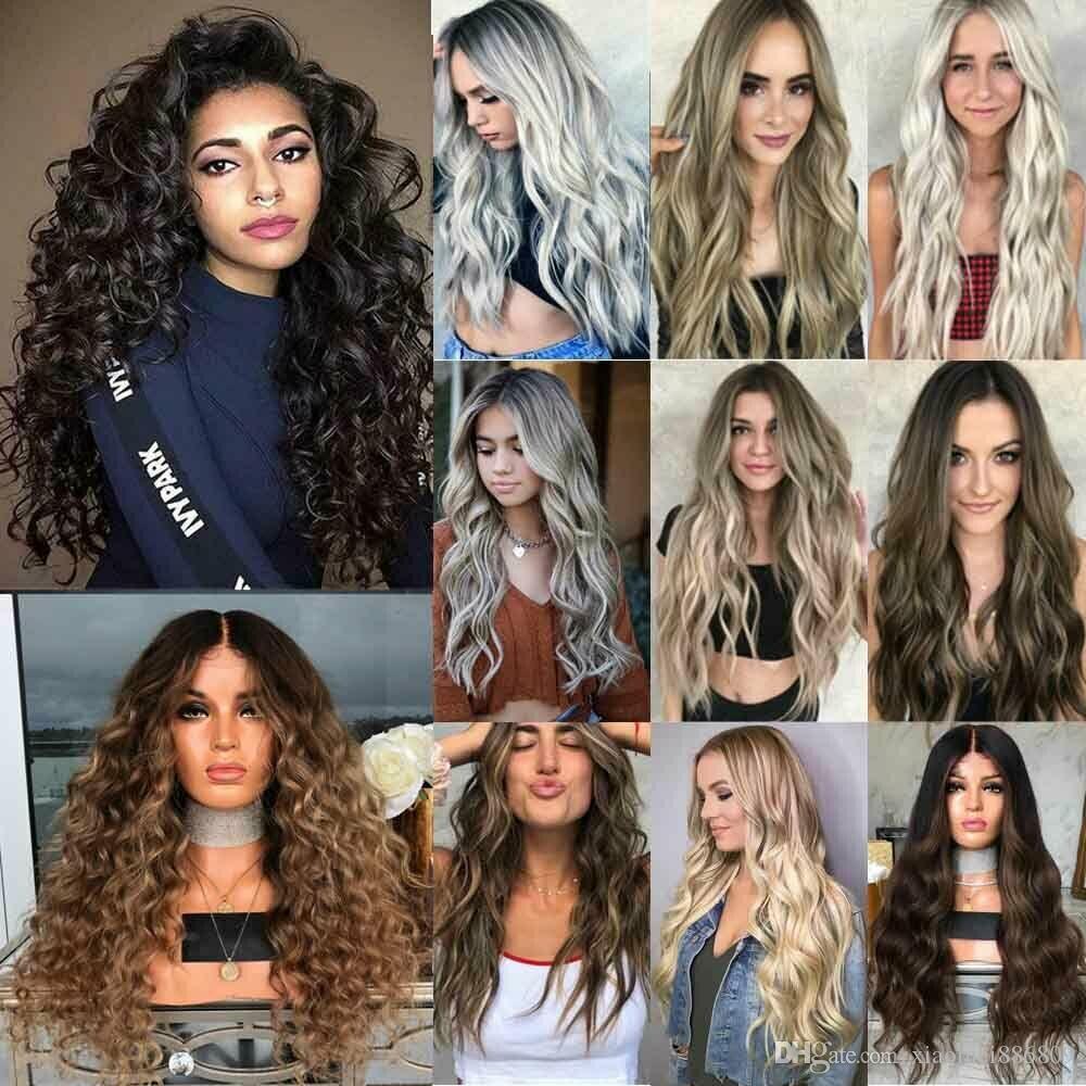 AU Kadınlar Uzun Tam Peruk Gerçek Saç Cosplay Peruk Olarak Doğal Kıvırcık Dalgalı Sentetik