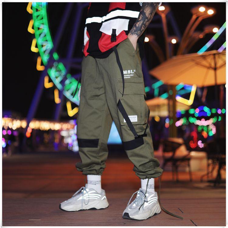 Pantalon sarouel multi-poches pour hommes Streetwear Punk Pantalon cargo pantalon décontracté Hip Hop Joggers Homme Noir