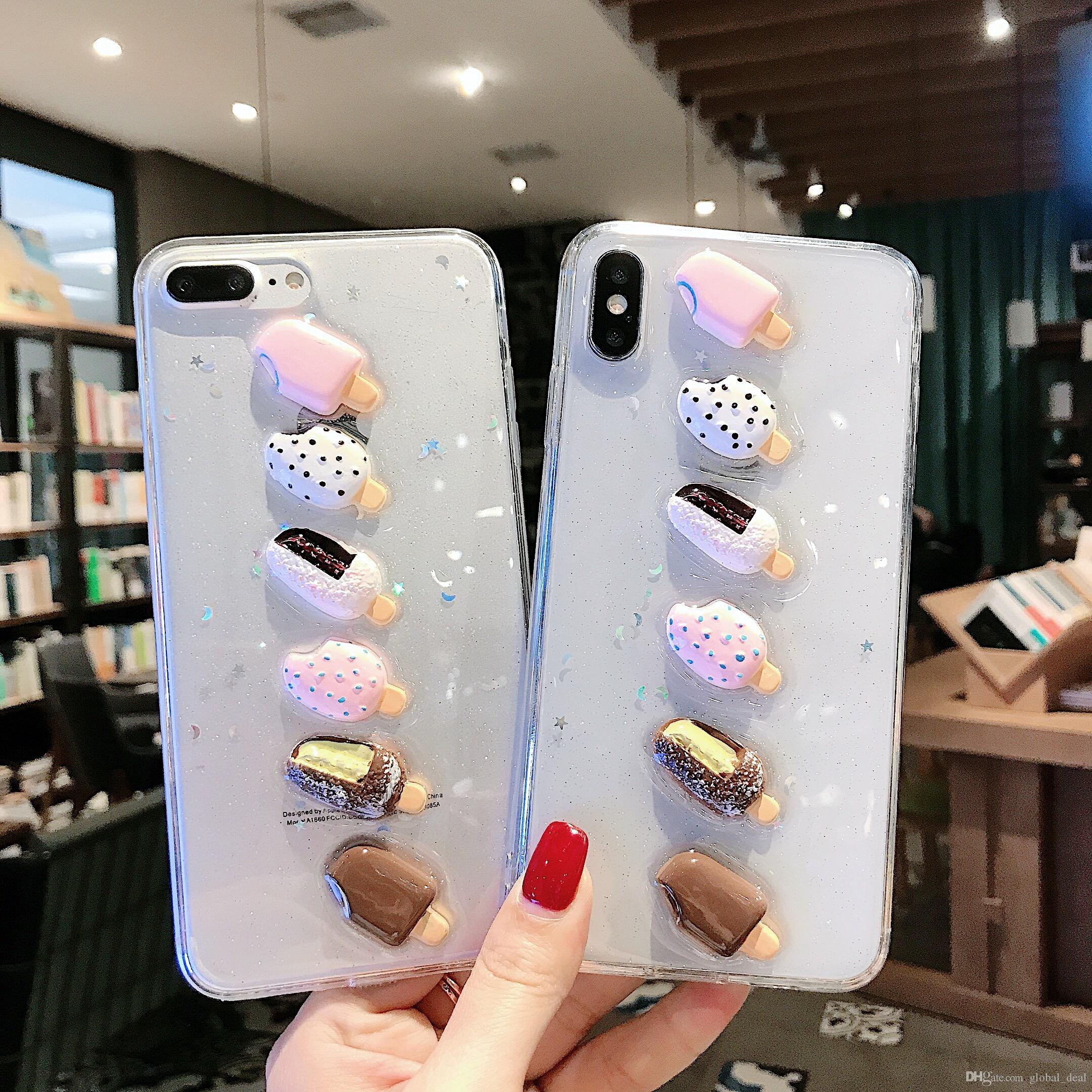 Cute Clear Colorful Ice Cream Case For IPhone 11 Pro Max XS Max XR 6 6S 7 8  Plus X Full Body Soft TPU Phone Back Cover For Iphone X Xs Cell Phone