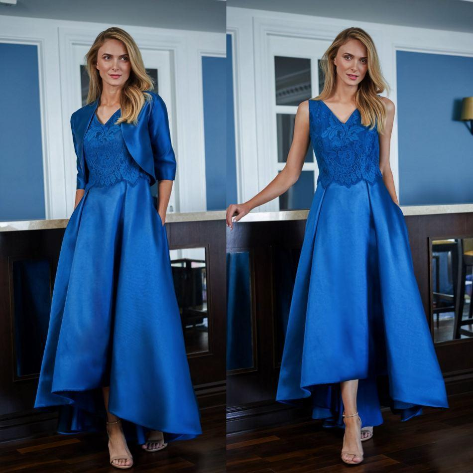Elegant Lace Satin Mother of the Bride Dresses with Jacket 2021 V Neck Evening Gowns Floor Length A-Line Wedding Guest Dress