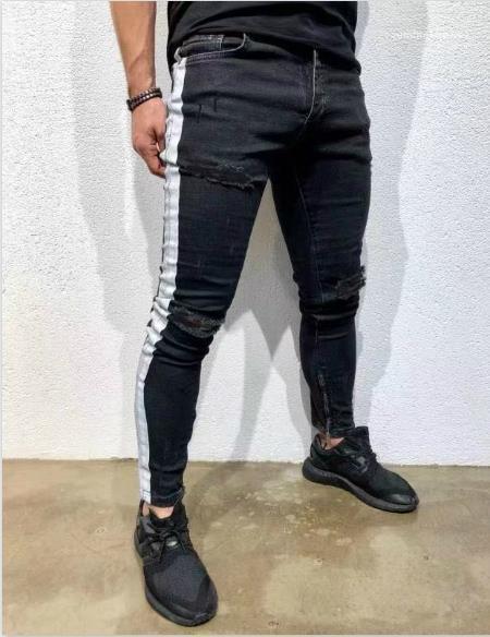 Fit Jeans Fashion Ripped High Street Trous de genou Pantalons simple blanc rayé noir Jeans Hommes Vêtements pour hommes Designer Slim