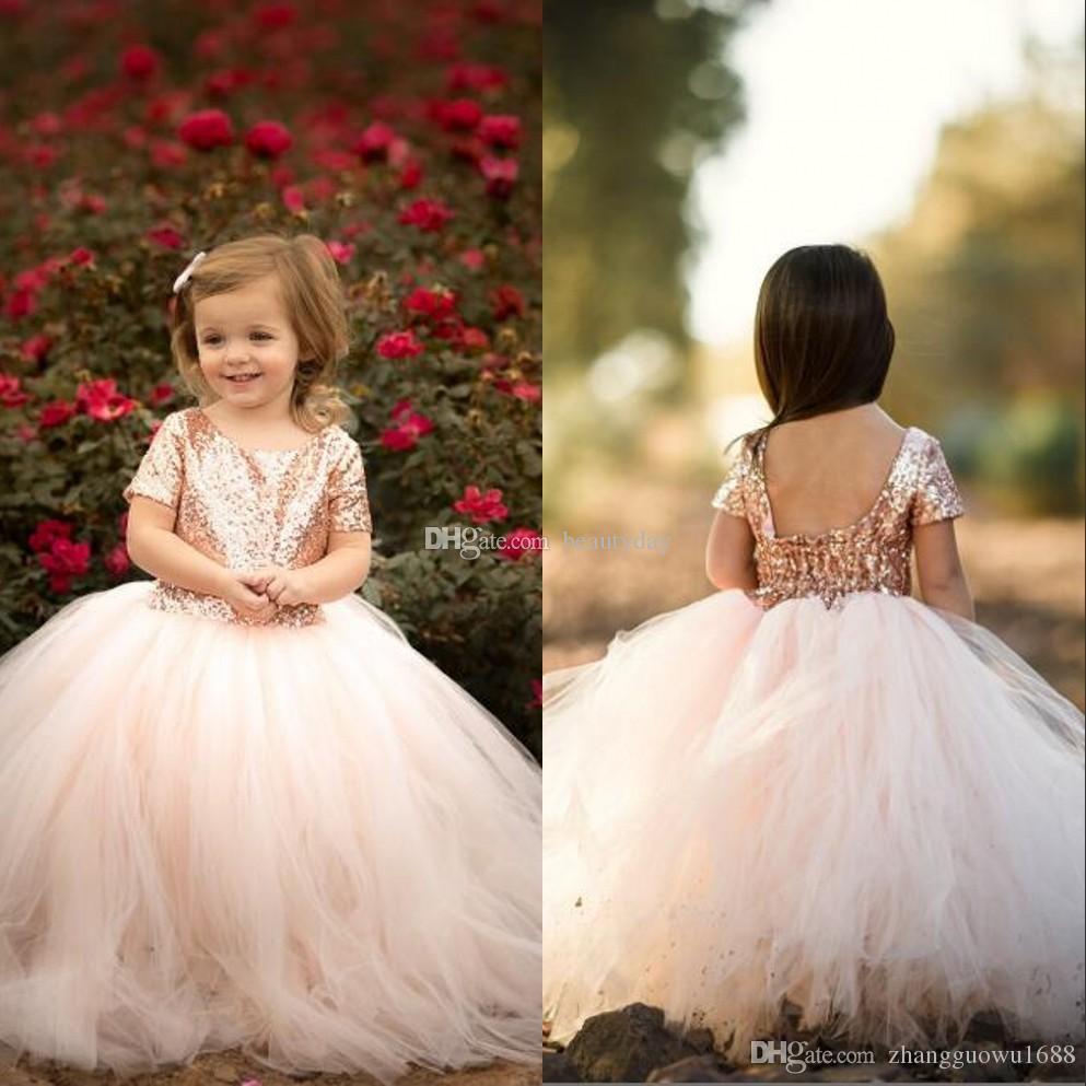 Pink Flower Girl Dress Long Bead Rhinestones Shinny Short Sleeve Cute Party Gown