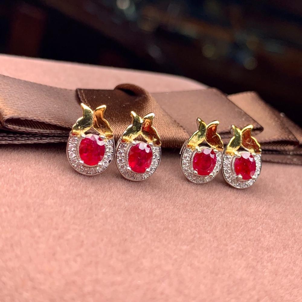Genuine Ruby Gemstone  18k Gold Over 925 Sterling Silver  Stud Earrings  5mm NEW