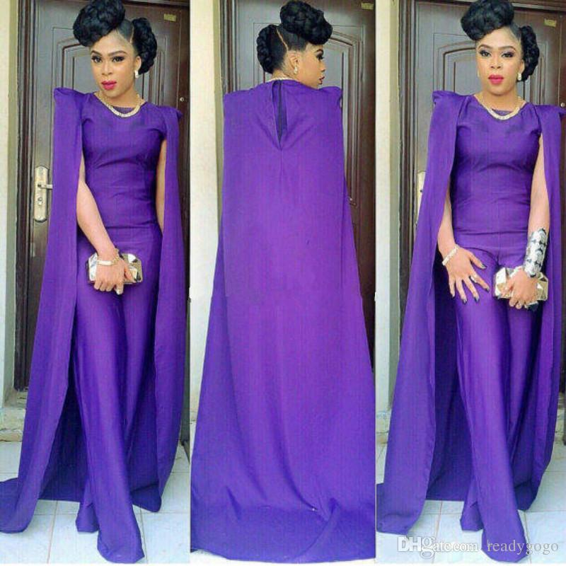 Regency Saudi Arabia Dubai Prom Dresses Jumpsuit Pants Style With Cape Satin Elegant Formal Evening Party Gowns South African Pageant Dress