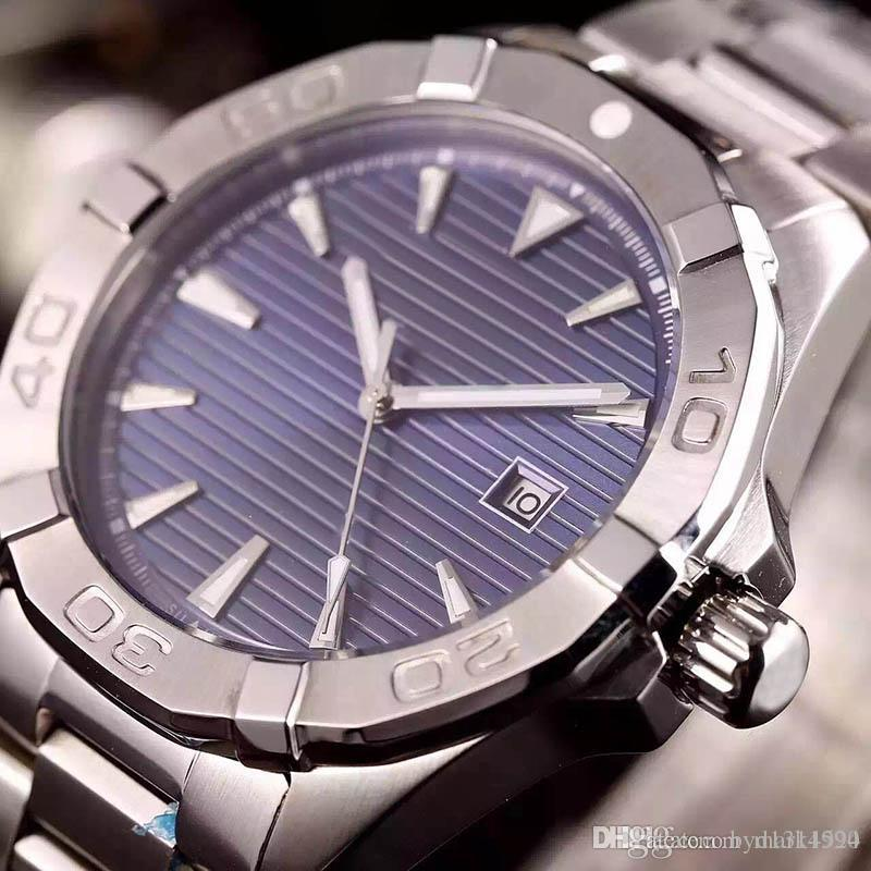 Two Style Best Cheap New 41mm Aquaracer Dive WAY2112.BA0928 Blue Dial Automatic Movement Mens Watch Stainless Steel Band Watches