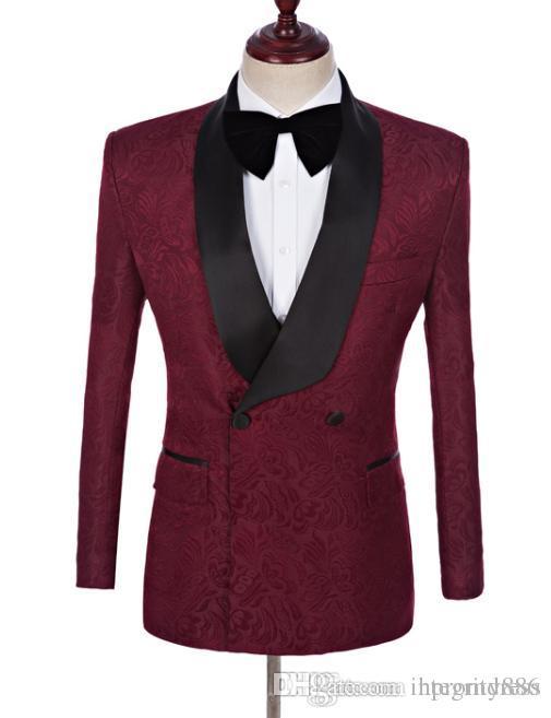 Burgundy Tuxedos Groom Excellent smoking garçons d'honneur tuxedos de mariage Hommes Dîner formel Party Prom Blazer Suit (veste + pantalon + cravate) 1100