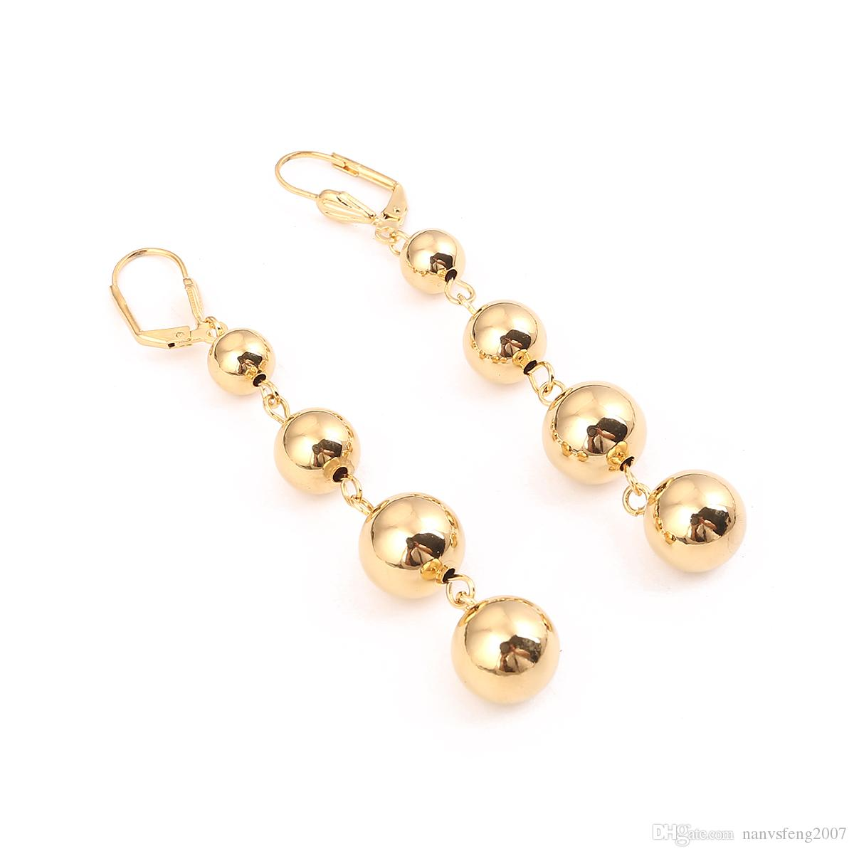 New Fashion Big Shiny Gold Color Round Ball Jewelry Statement Ball Earrings