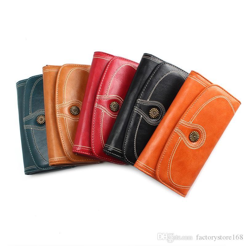 Vendita calda raccoglitore delle donne lunghe Olio vita della frizione del sacchetto della carta Multi-Card esplosione PU borsa di cuoio del telefono Holder lusso raccoglitori delle donne