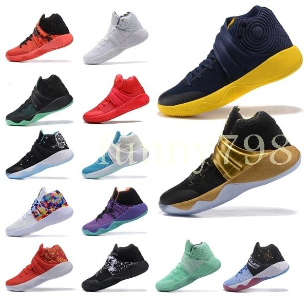 With 2019 High quality designer fashion shoes Kyrie 2 Irving Neon Blends chaussures men 2s Wolf Grey Team Red sports basketball shoes