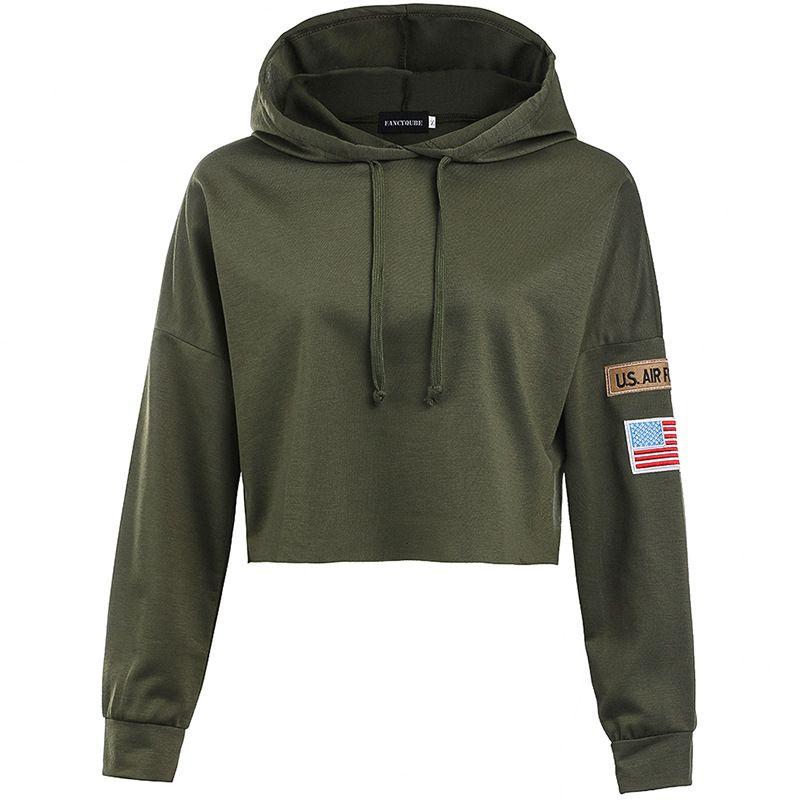 Armée Vert Femmes Crop Tops De Mode Slim Hoodies Lettre Brodé À Manches Longues Sweat 2019 Printemps Nouvelle Arrivée Vêtements Pour Femmes