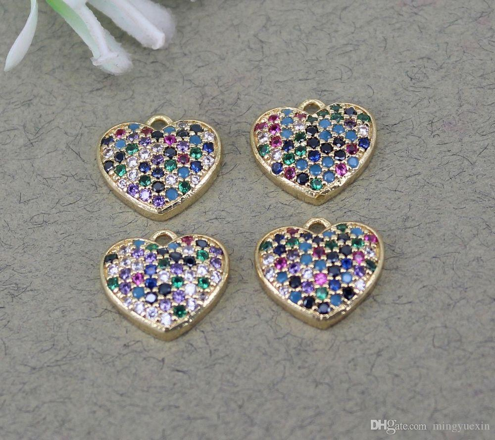 الحجم 10PCS الصغيرة مايكرو مهد تشيكوسلوفاكيا متعددة الألوان القلب الخرز قلادة، قلب السحر حبة لصنع المجوهرات