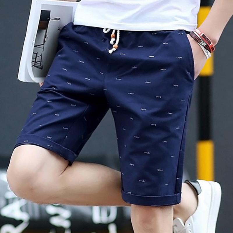 Laamei Mens Prints shorts Summer Casual Drawstring Breathable Straight Cargo Shorts High Quality Male Elastic waist short Homme