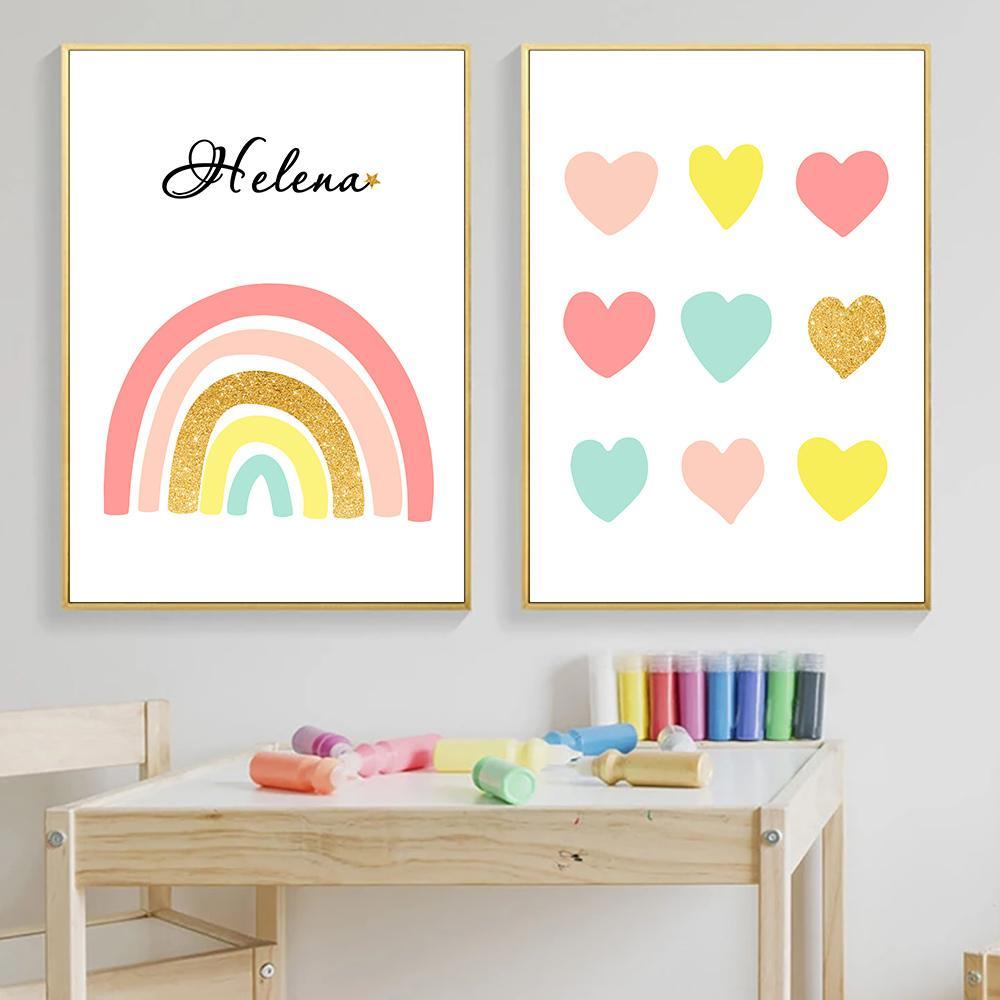 Nordic Poster Nursery lona Pintura da aguarela do arco-íris Nome personalizado Imprimir Rosa Poster Coração do bebê Crianças Room Picture Wall Decor