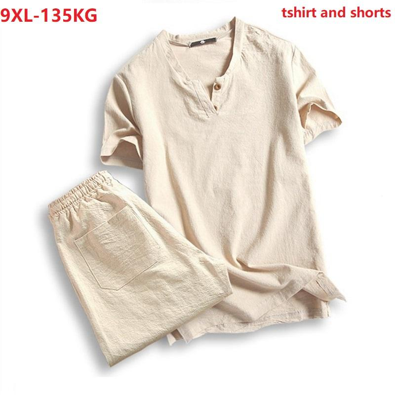 Men's T-Shirts Plus Size 5XL 7XL 8XL 9XL T-shirt Men Summer Tees Short Sleeve And Shorts Vintage Japan Style V-neck Cotton Tshirt Black 130K