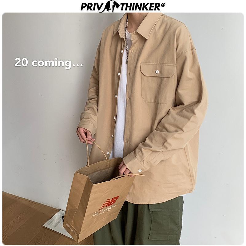 Coréens Chemises en coton Hommes 2020 Nouveau Printemps 8 Couleurs Homme Chemisier Casual couleur unie manches longues Chemises 5XL