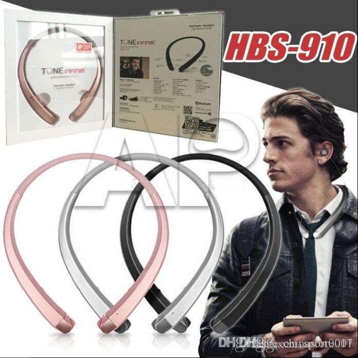 10PCS HBS 910 TONE INFINIM 헤드폰 HBS 900 무선 HBS910 목걸이 최고 품질 Bbluetooth 스테레오 헤드셋 4.1 스포츠 헤드폰 업그레이드