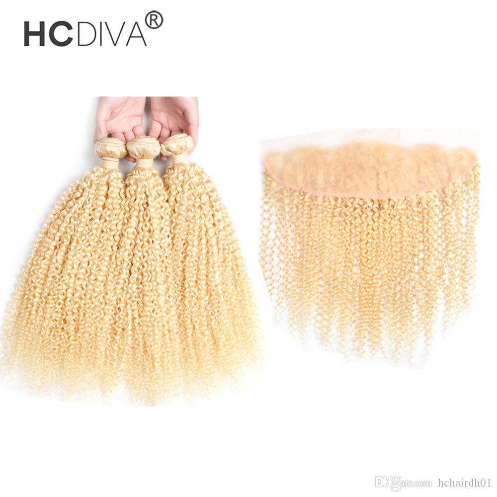 Бразильская девственница вьющиеся вьющиеся блондинка пачка с кружевной лобной классовой цветом 613 3 пучка волос с закрытием 13 * 4