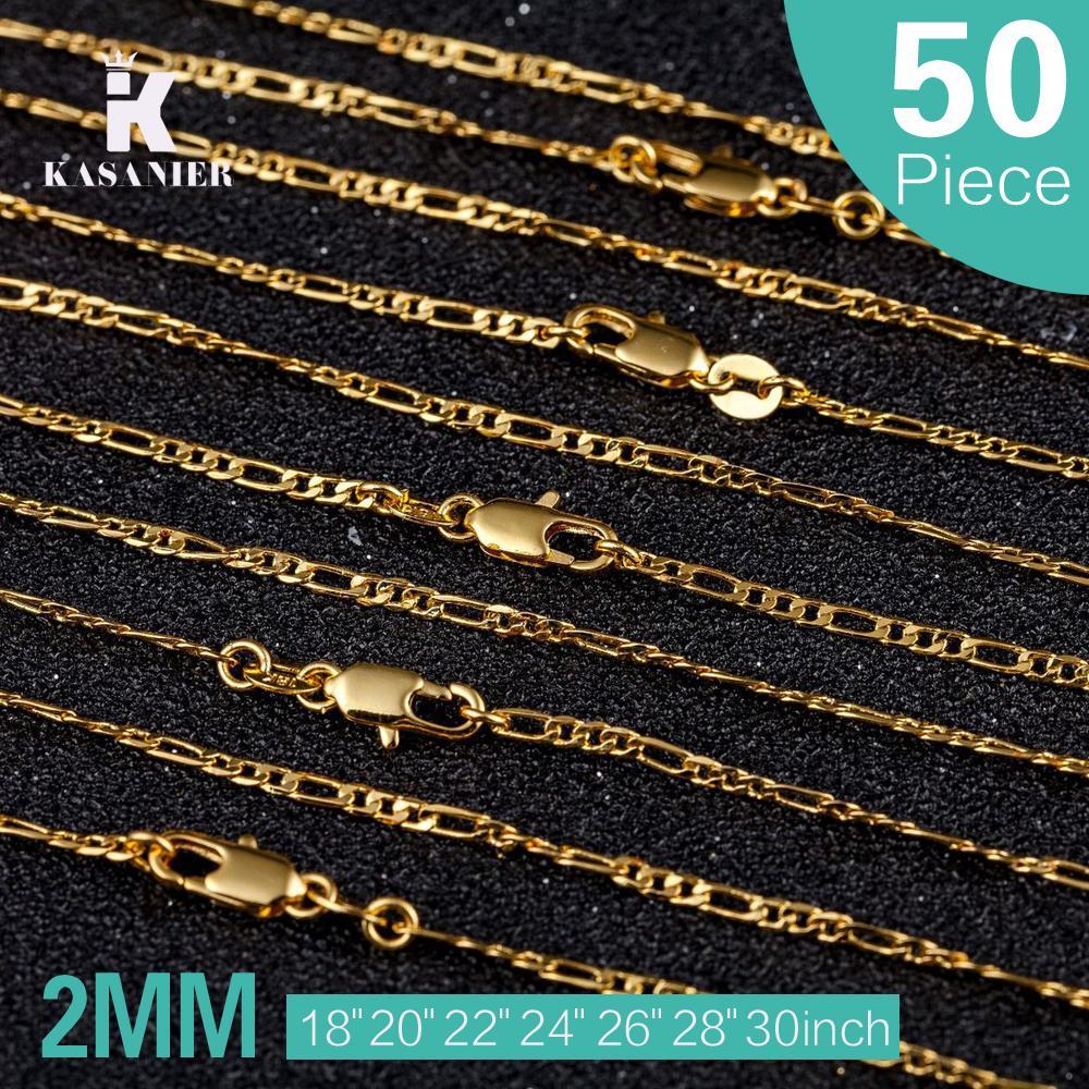 Mode 18k Collier 50pcs Couleur Or 16-30 pouces 2MM Taille Femme Mode Bijoux Figaro Collier Femmes Accessoires Vêtements KASANIER