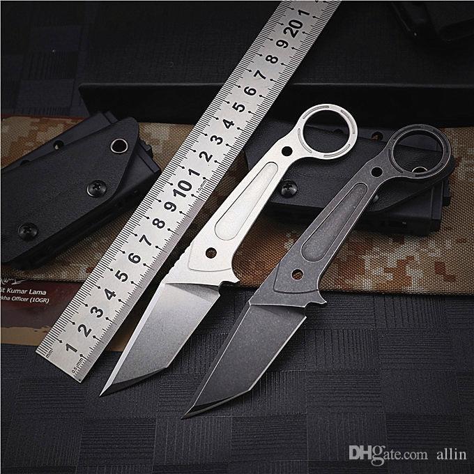 Новый EDC выживания прямой нож DC53 Stone Wash Tanto лезвия Full Tang стали Ручка фиксированным лезвием Ножи с Kydex