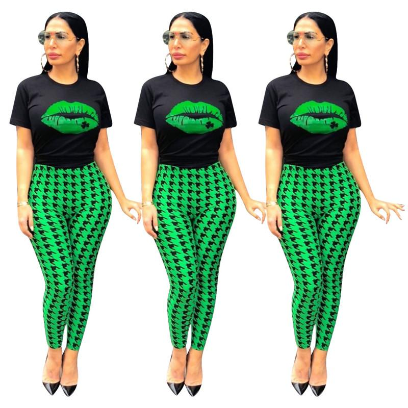 Women Green Lips Printed Sets Casual Crew Neck Slim Short Sleeve Two Piece Pants Womens Summer Tracksuits