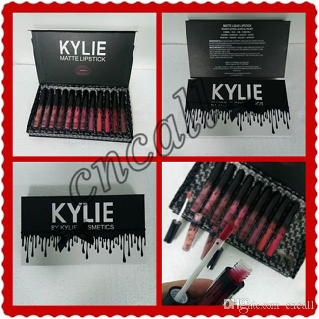 2018 Kylie LIPGLOSSBurthay&12 colors, matte liquid lipstick, Keri cosmetics, 12 new kylie black butterfly lip gloss sets.