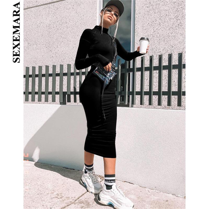 SEXEMARA Frente Zip Manga Larga Vestido Negro Bodycon Tight Fitted Vestidos de Mujer Neon Otoño Invierno 2019 Moda Streetwear C83AD93 D19011601