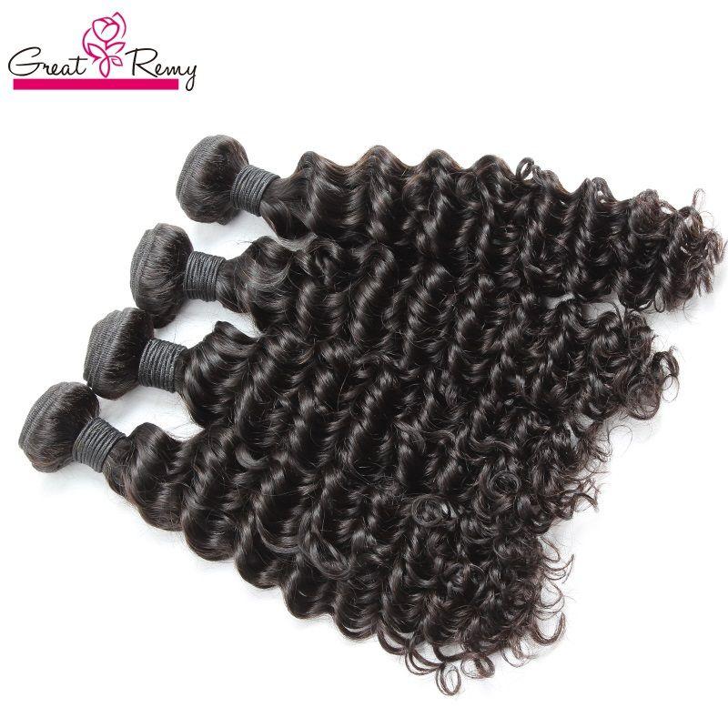 "100% malaysiska mänskliga hårbuntar Deep Wave Double Weft Extensions 8 ""~ 30"" Obehandlat Remy Hair Natural Färg Dysable 4st / Lot Greatremy"