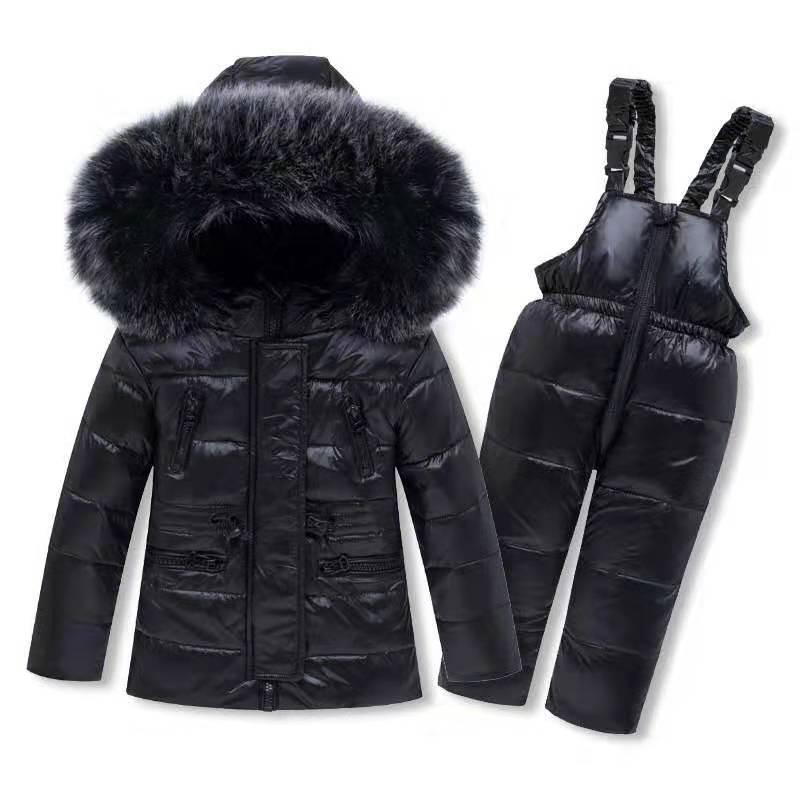 Niño Niña Invierno caliente abajo chaqueta de la capa + mameluco de la ropa del Traje para la nieve niños Parka Pato blanco desgastar a los niños de invierno de esquí