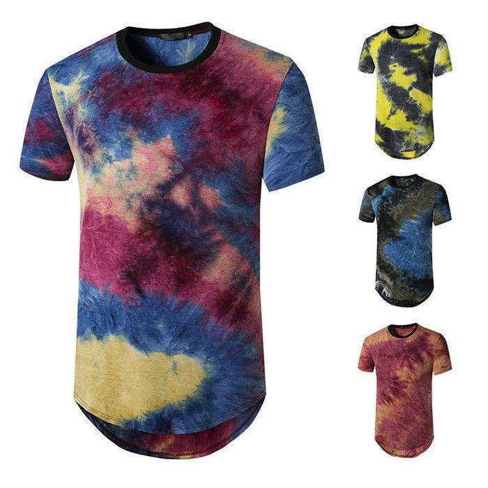 Лето с коротким рукавом Длинные тенниска Mens Tie Dye Crew Neck Повседневный Tshirt Мужской High Street Дизайнер одежды