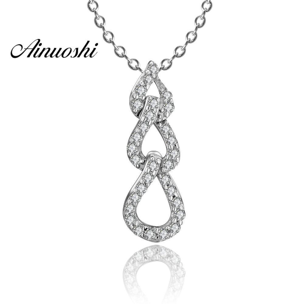 AINUOSHI lusso 925 Collana pendente d'argento per l'acqua Goccia donne ritorto a lunga catena collana Wedding Silver Jewelry Y200107