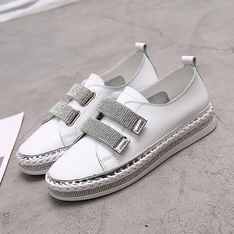 grossista Crystal couro genuíno tênis Loafers Shoes 2019 HOOkLOOP Mulher Flats plataforma calçados femininos andar branco