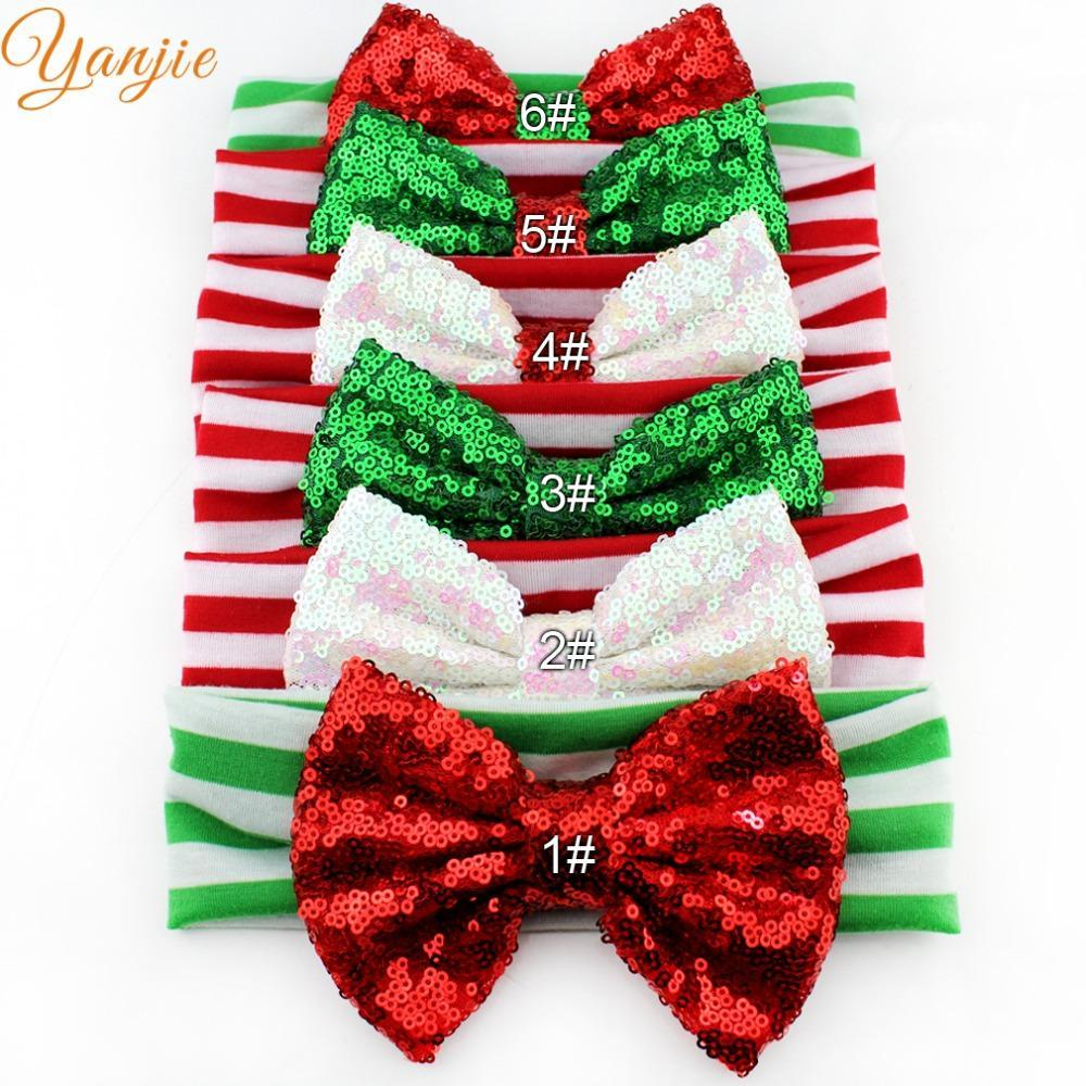 """Perakende Chic Noel Festivali Bebek Kız 5 """"Kırmızı / Yeşil Sequins Bow Çizgili Kafa Yeni Varış DIY Saç Aksesuarları Headwrap"""