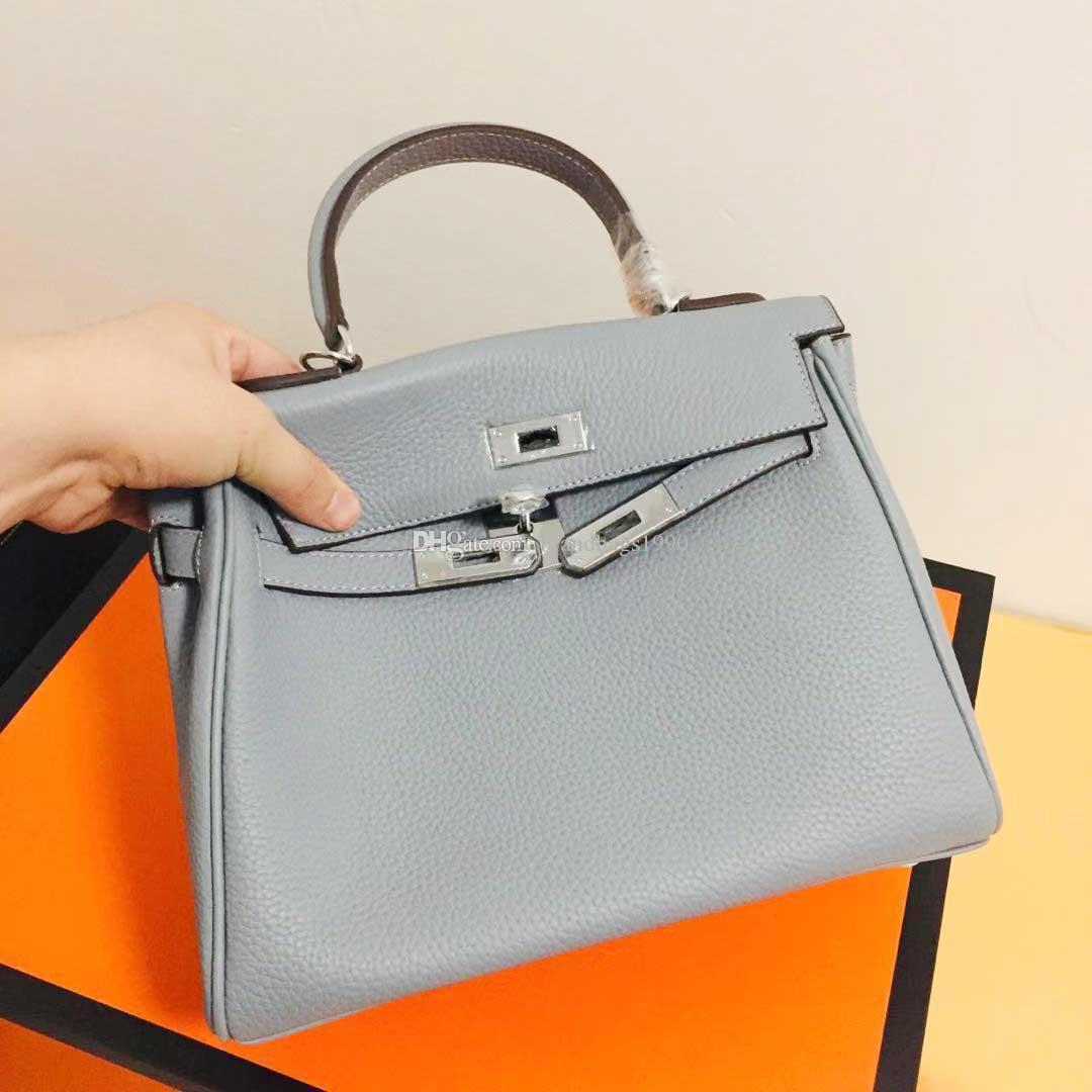 Weiche Cowskin Designer Mode Taschen 25 cm 28 cm 32 cm Silber Hardware Frauen Totes Echtes Leder Umhängetasche Dame Handtasche Hohe Qualität Echte Fotos