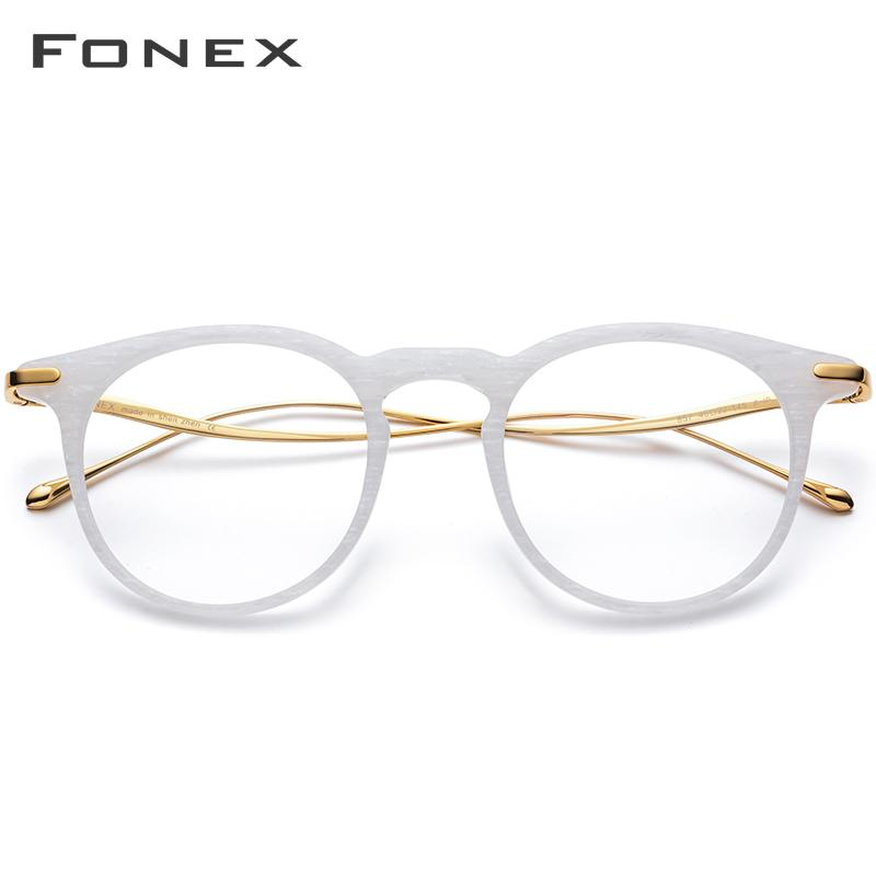 FONEX Titane Acétate Ronde Lunettes Hommes Vintage Retro optique lunettes cadre Femmes Lunettes Myopie Lunettes 857