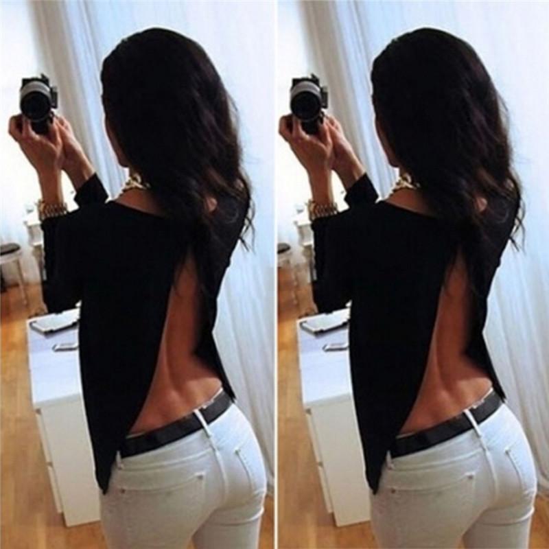 Camicia a maniche lunghe in chiffon 2018 delle donne calde Backless Split camicetta posteriore Prospettiva del bicchierino Pinocchietti parti superiori casuali