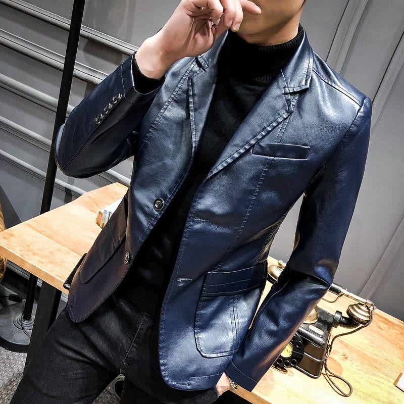 Frühling und Herbst 2020 PU-Leder-Männer nehmen passenden Anzug Kragen Lederjacke Männer business casual Leder Männer Mantel Männer
