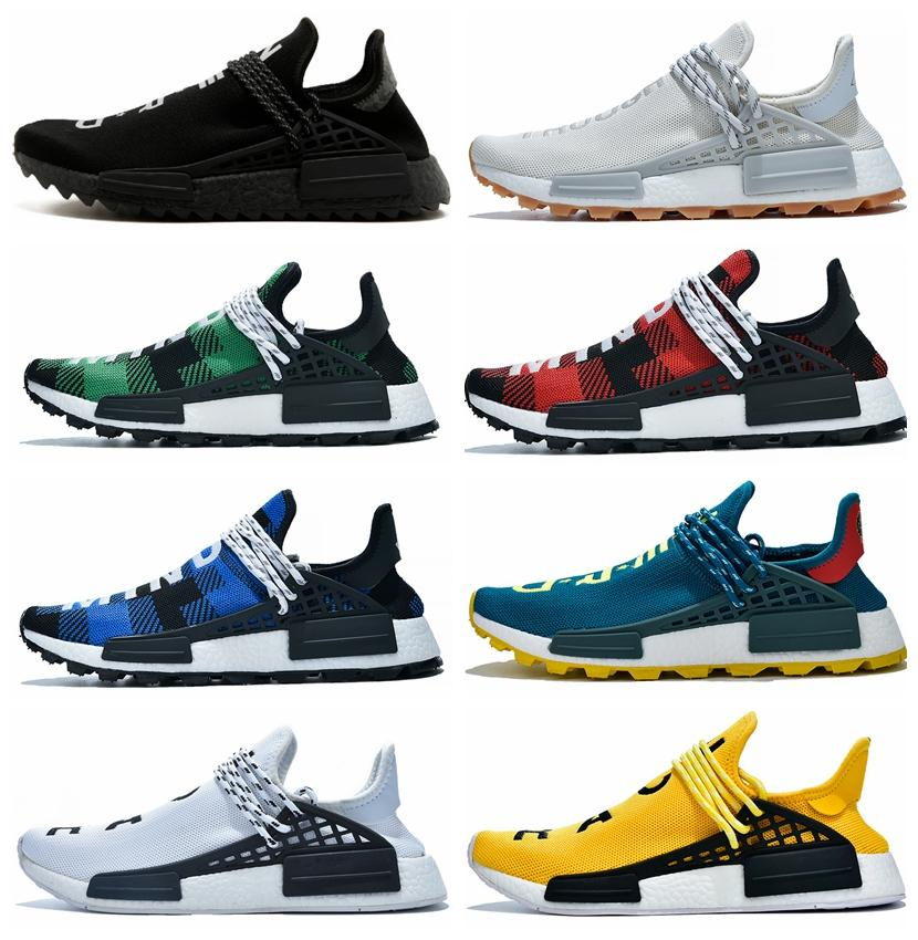 PW Human Race Hu Trail X Men Running Shoes Pharrell Williams Nerd Black White Cream Tie Dye Sun Glow Womens Trainers Sports Sneakers