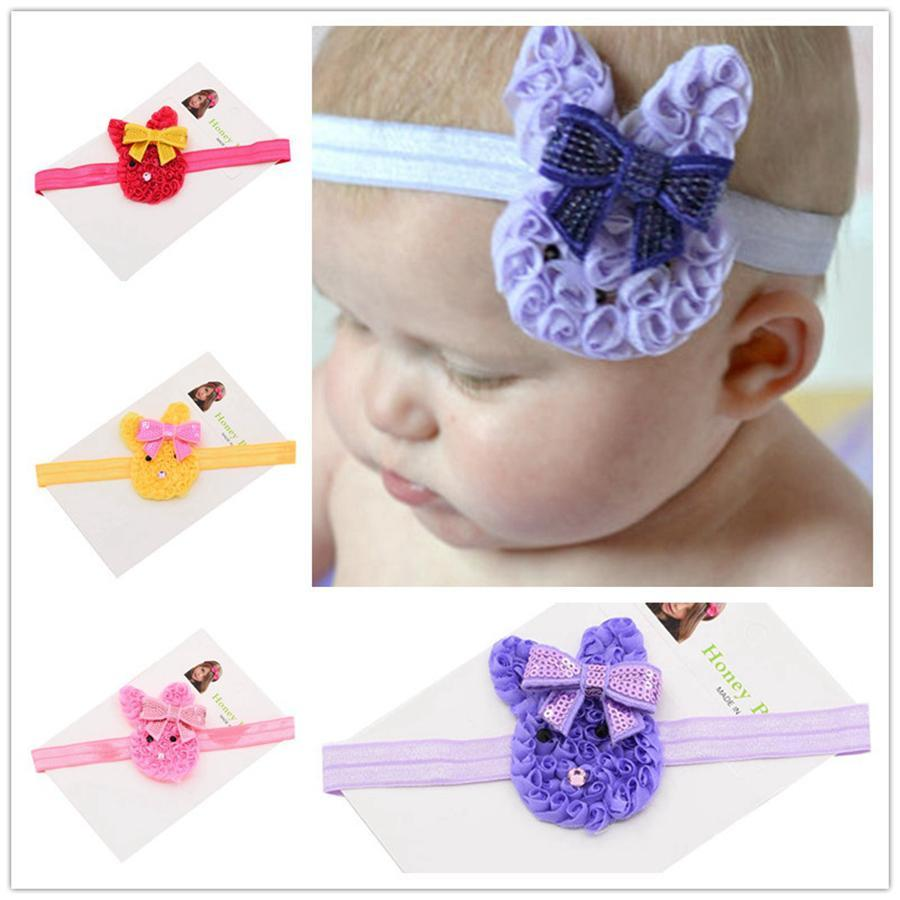 Women Girl Easter Elastic Hairbands Accessories Tools Easter Rabbit Headband Hair Ties Bows Party Favor 5styles RRA2684