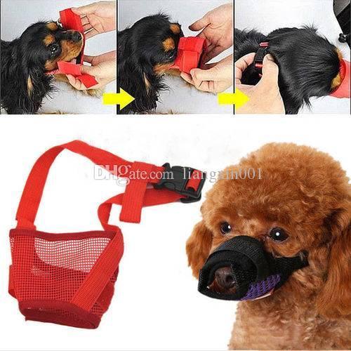 Nylon-Welpe Große Maulkorb-gebundene einstellbare Gerät Maske Haustier-Mund atmungsaktive Hunde aufhören zu beißen Anti-Rindenhund Kleine Mesh-Bisssicherheit Fehes