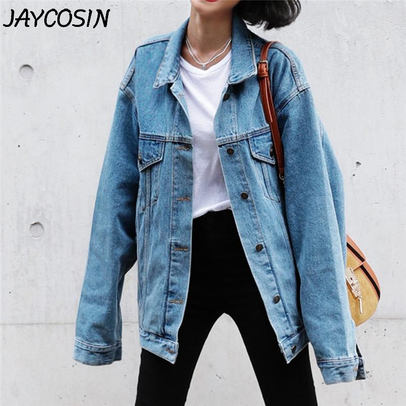 Brasão JAYCOSIN Mulheres Denim Sólidos manga comprida Turn-Down Collar Jean Jacket Blue Jeans Moda Retro Cowboy solto jaqueta casual
