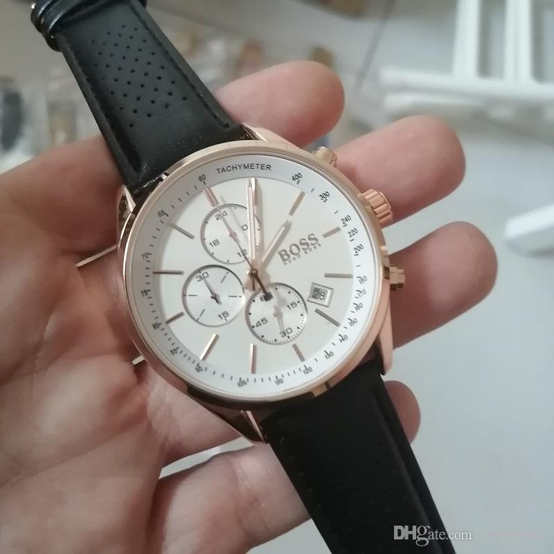 Alle Subdials Arbeit DZ Herren Edelstahl wasserdichte Quarz-Armbanduhr-Boss Stoppuhr relogies für Männer Uhren Bestes Geschenk