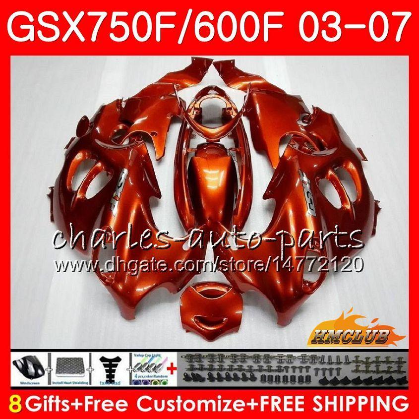 kit de carrocería para SUZUKI KATANA GSXF600 GSXF750 naranja brillante 03 04 05 06 07 3HC.AA GSX750F GSX600F GSXF 750 600 2003 2004 2005 2006 2007 carenado