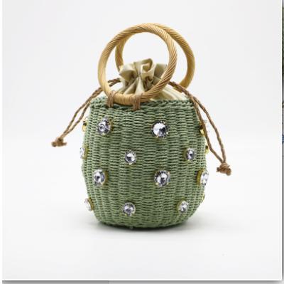 Redonda del verano Rattan diamante hecho a mano bolsa de perlas bolso ocasional de la paja tejida Cubo mensajero del hombro del grano Bolso de la playa