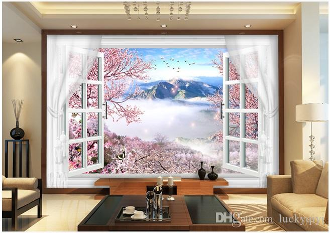3D damask peach flowers in false window with silk curtain 5D space pattern wallpaper for living room bedroom walls