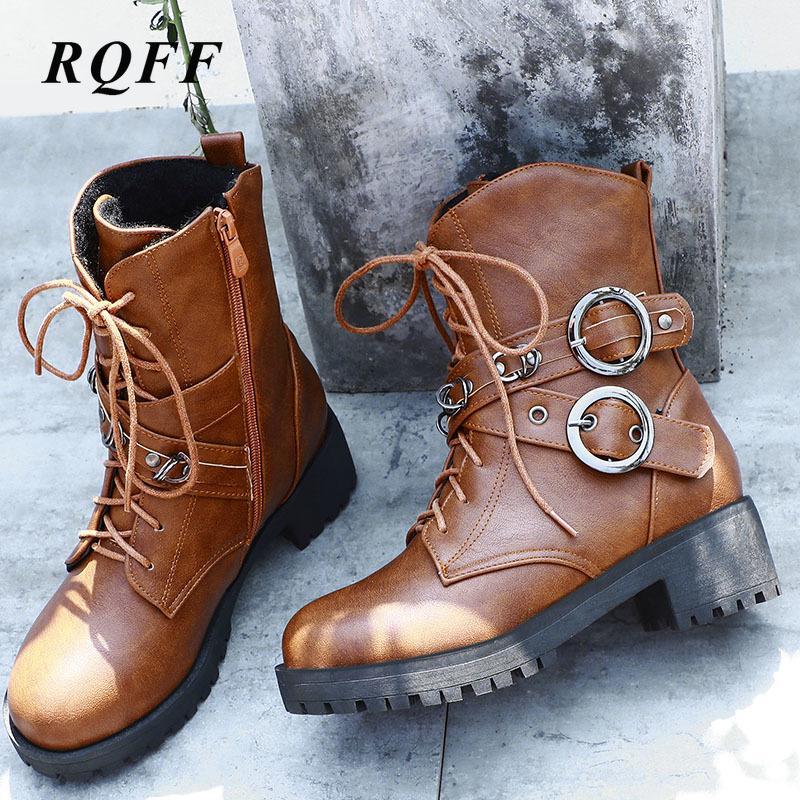 Herbst-Winter-New Ankle Boot Frauen Plus Size 42 43 Fashion Platform Med-Platz Absatz-Schuhe Frau Lace-up Schnallenstiefel